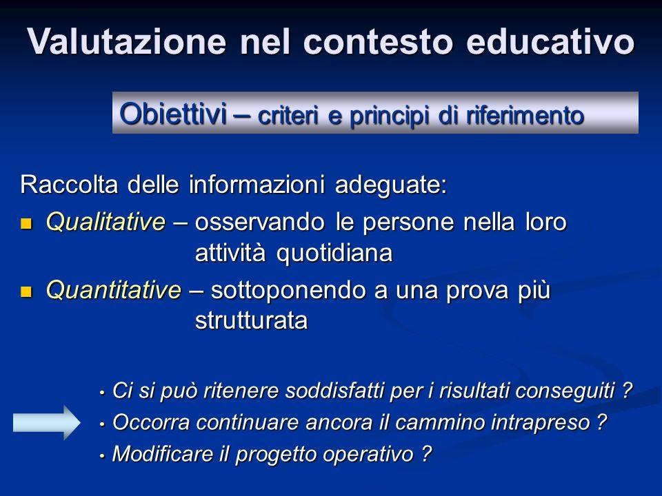 Valutazione nel contesto educativo Obiettivi – criteri e principi di riferimento Raccolta delle informazioni adeguate: Qualitative – osservando le per