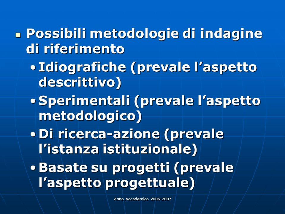 Anno Accademico 2006-2007 Possibili metodologie di indagine di riferimento Possibili metodologie di indagine di riferimento Idiografiche (prevale lasp