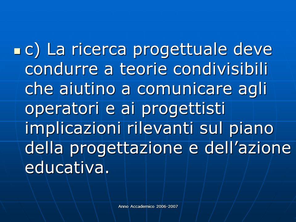 Anno Accademico 2006-2007 c) La ricerca progettuale deve condurre a teorie condivisibili che aiutino a comunicare agli operatori e ai progettisti impl
