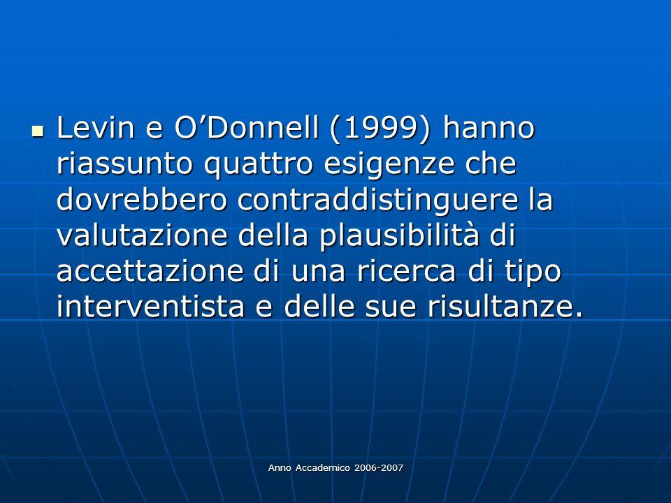 Anno Accademico 2006-2007 Levin e ODonnell (1999) hanno riassunto quattro esigenze che dovrebbero contraddistinguere la valutazione della plausibilità