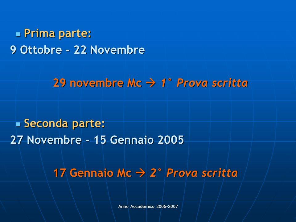 Anno Accademico 2006-2007 Prima parte: Prima parte: 9 Ottobre – 22 Novembre 9 Ottobre – 22 Novembre 29 novembre Mc 1° Prova scritta Seconda parte: Sec