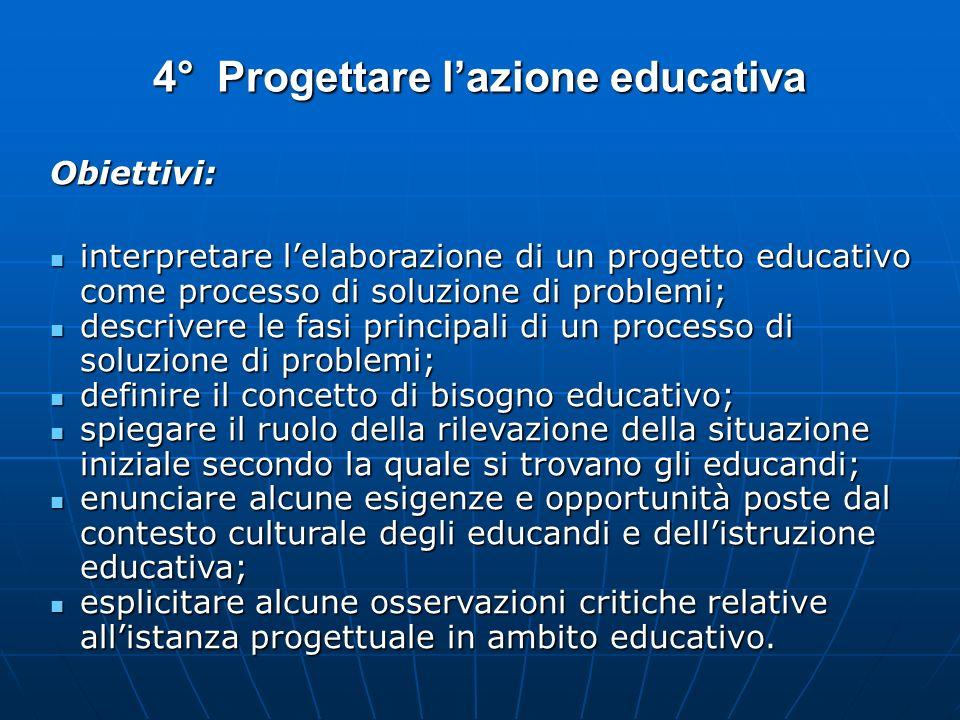 4° Progettare lazione educativa Obiettivi: interpretare lelaborazione di un progetto educativo come processo di soluzione di problemi; interpretare le