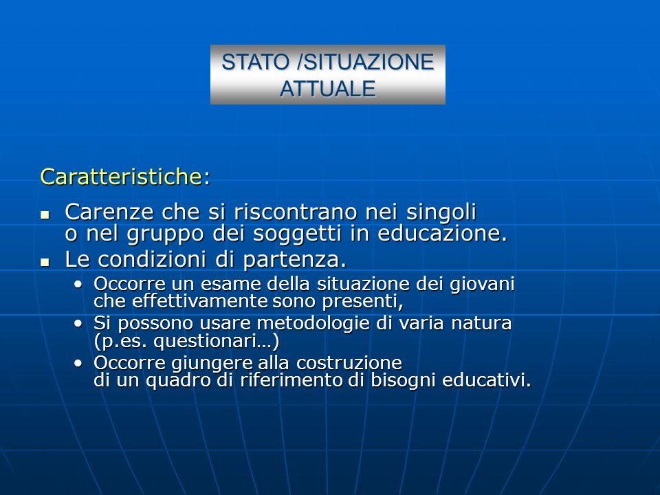 STATO /SITUAZIONE ATTUALE Caratteristiche: Carenze che si riscontrano nei singoli o nel gruppo dei soggetti in educazione. Carenze che si riscontrano