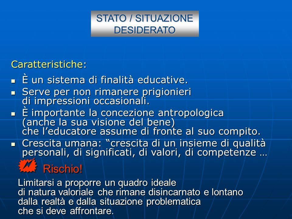 STATO / SITUAZIONE DESIDERATO Caratteristiche: È un sistema di finalità educative. È un sistema di finalità educative. Serve per non rimanere prigioni