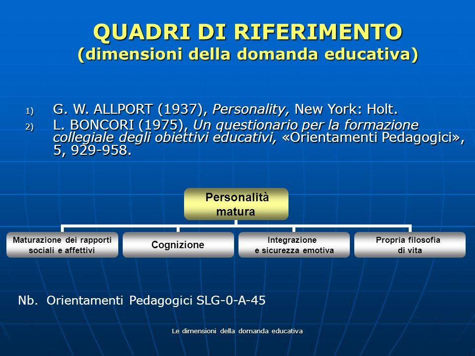Le dimensioni della domanda educativa QUADRI DI RIFERIMENTO (dimensioni della domanda educativa) 1) G. W. ALLPORT (1937), Personality, New York: Holt.