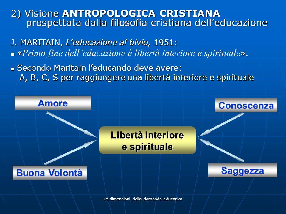 Le dimensioni della domanda educativa 2) Visione ANTROPOLOGICA CRISTIANA prospettata dalla filosofia cristiana delleducazione J. MARITAIN, Leducazione