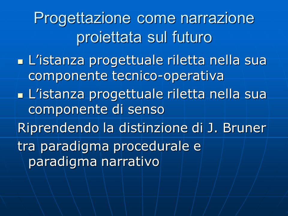 Progettazione come narrazione proiettata sul futuro Listanza progettuale riletta nella sua componente tecnico-operativa Listanza progettuale riletta n