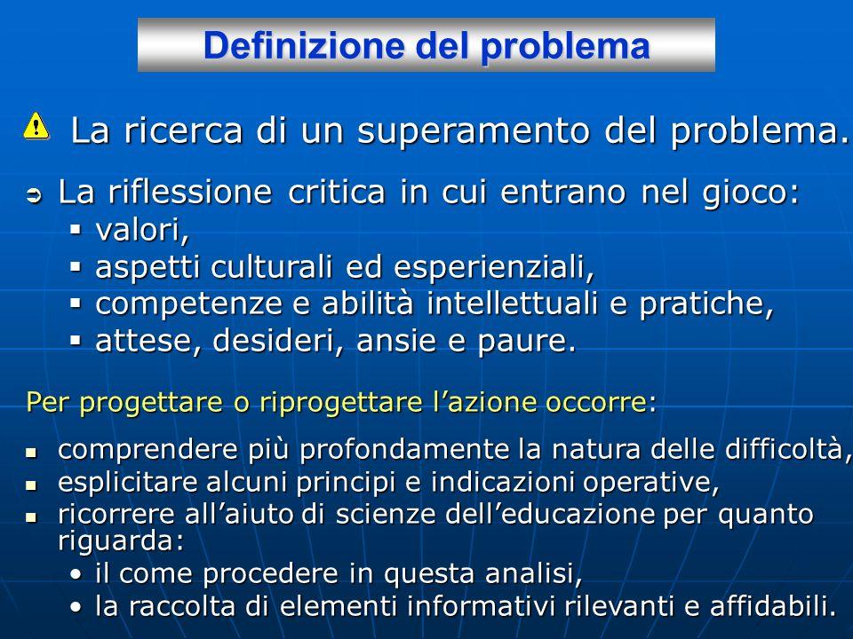 Definizione del problema Per progettare o riprogettare lazione occorre: comprendere più profondamente la natura delle difficoltà, comprendere più prof