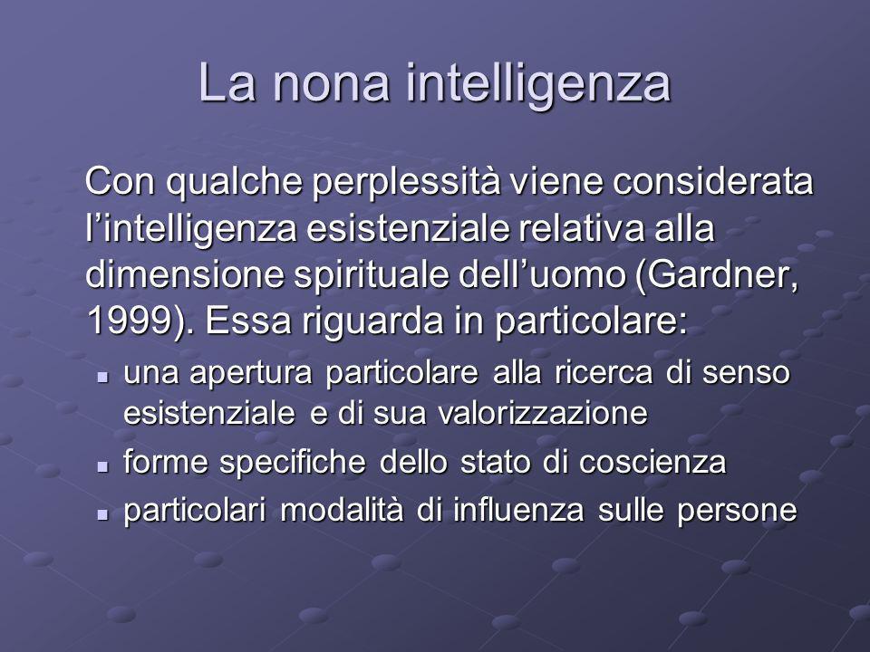 La nona intelligenza Con qualche perplessità viene considerata lintelligenza esistenziale relativa alla dimensione spirituale delluomo (Gardner, 1999)