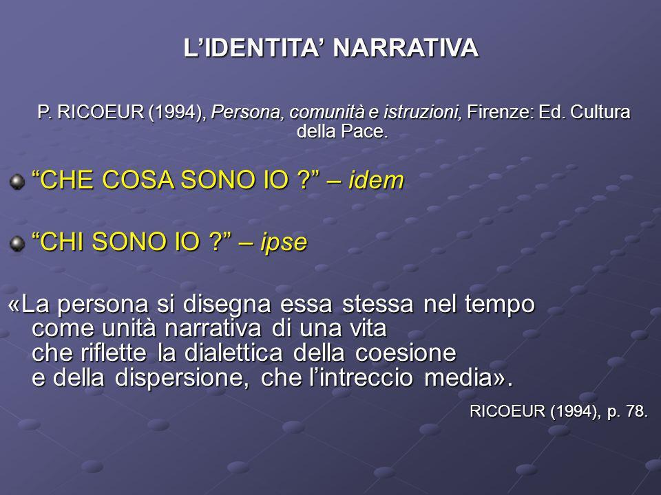 LIDENTITA NARRATIVA P. RICOEUR (1994), Persona, comunità e istruzioni, Firenze: Ed. Cultura della Pace. P. RICOEUR (1994), Persona, comunità e istruzi