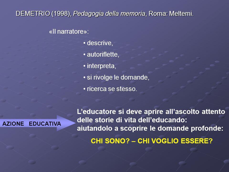 DEMETRIO (1998), Pedagogia della memoria, Roma: Meltemi. «Il narratore»: descrive, autoriflette, interpreta, si rivolge le domande, ricerca se stesso.