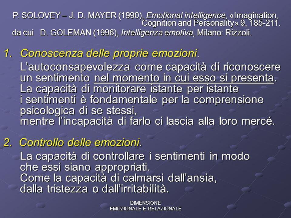 DIMENSIONE EMOZIONALE E RELAZIONALE P. SOLOVEY – J. D. MAYER (1990), Emotional intelligence, «Imagination, Cognition and Personality» 9, 185-211. da c