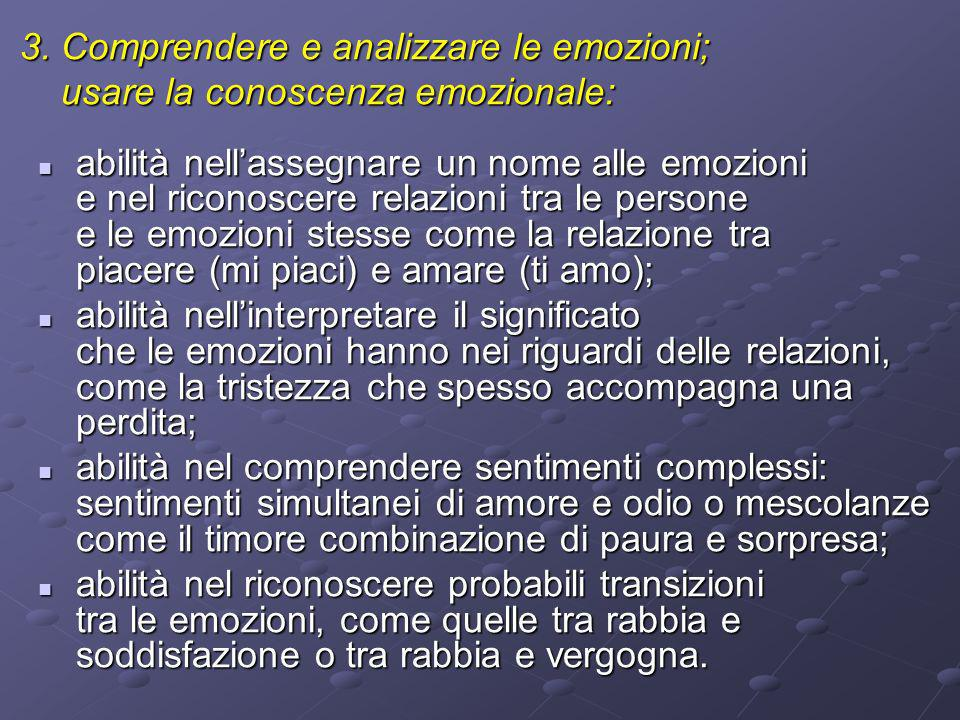 3. Comprendere e analizzare le emozioni; usare la conoscenza emozionale: usare la conoscenza emozionale: abilità nellassegnare un nome alle emozioni e