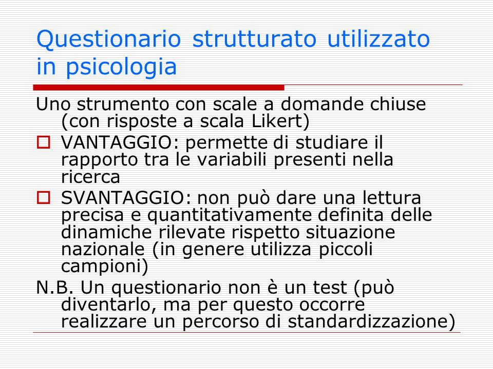 Questionario strutturato utilizzato in psicologia Uno strumento con scale a domande chiuse (con risposte a scala Likert) VANTAGGIO: permette di studia