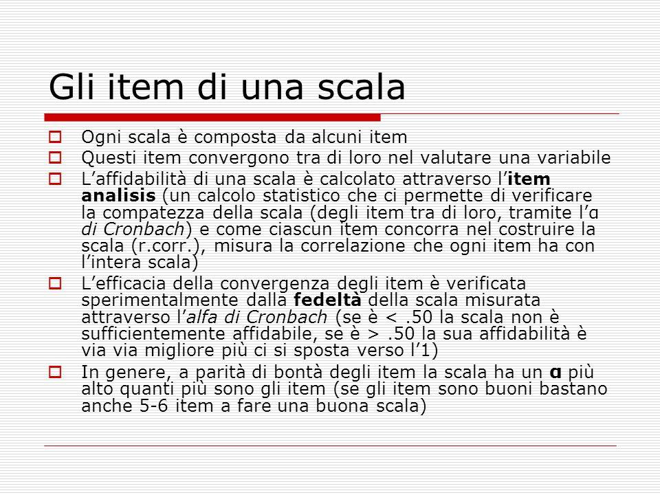 Gli item di una scala Ogni scala è composta da alcuni item Questi item convergono tra di loro nel valutare una variabile Laffidabilità di una scala è calcolato attraverso litem analisis (un calcolo statistico che ci permette di verificare la compatezza della scala (degli item tra di loro, tramite lα di Cronbach) e come ciascun item concorra nel costruire la scala (r.corr.), misura la correlazione che ogni item ha con lintera scala) Lefficacia della convergenza degli item è verificata sperimentalmente dalla fedeltà della scala misurata attraverso lalfa di Cronbach (se è.50 la sua affidabilità è via via migliore più ci si sposta verso l1) In genere, a parità di bontà degli item la scala ha un α più alto quanti più sono gli item (se gli item sono buoni bastano anche 5-6 item a fare una buona scala)