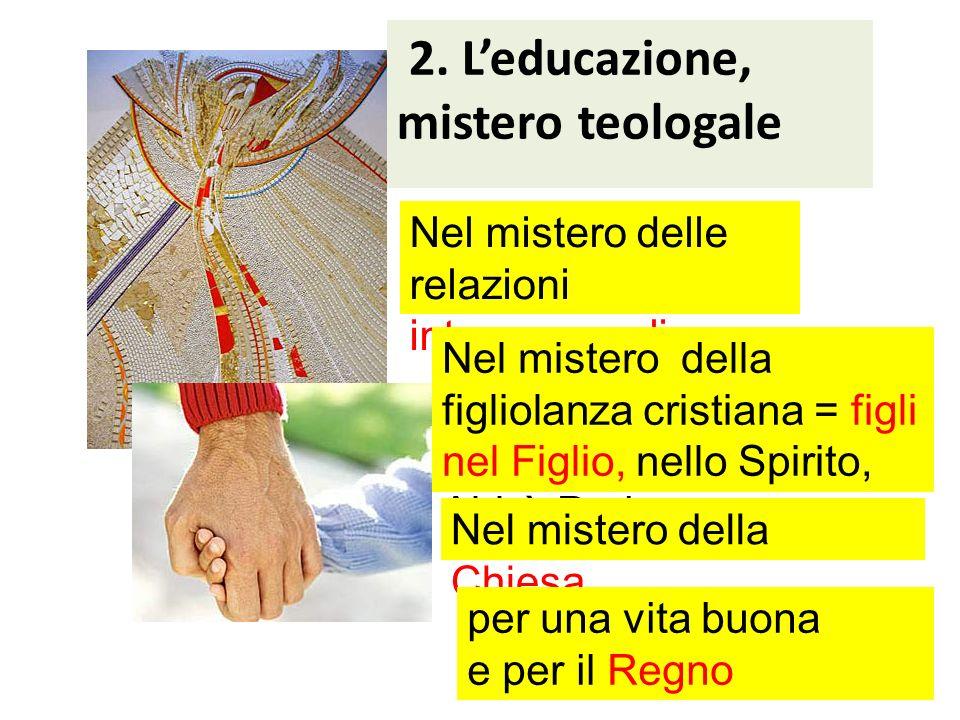 2. Leducazione, mistero teologale Nel mistero delle relazioni interpersonali Nel mistero della figliolanza cristiana = figli nel Figlio, nello Spirito