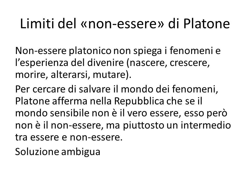 Limiti del «non-essere» di Platone Non-essere platonico non spiega i fenomeni e lesperienza del divenire (nascere, crescere, morire, alterarsi, mutare).