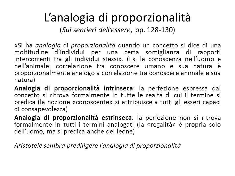 Lanalogia di proporzionalità (Sui sentieri dellessere, pp.