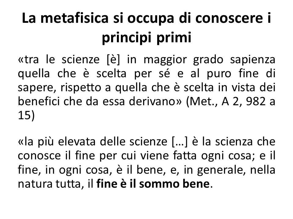 La metafisica si occupa di conoscere i principi primi «tra le scienze [è] in maggior grado sapienza quella che è scelta per sé e al puro fine di sapere, rispetto a quella che è scelta in vista dei benefici che da essa derivano» (Met., A 2, 982 a 15) «la più elevata delle scienze […] è la scienza che conosce il fine per cui viene fatta ogni cosa; e il fine, in ogni cosa, è il bene, e, in generale, nella natura tutta, il fine è il sommo bene.