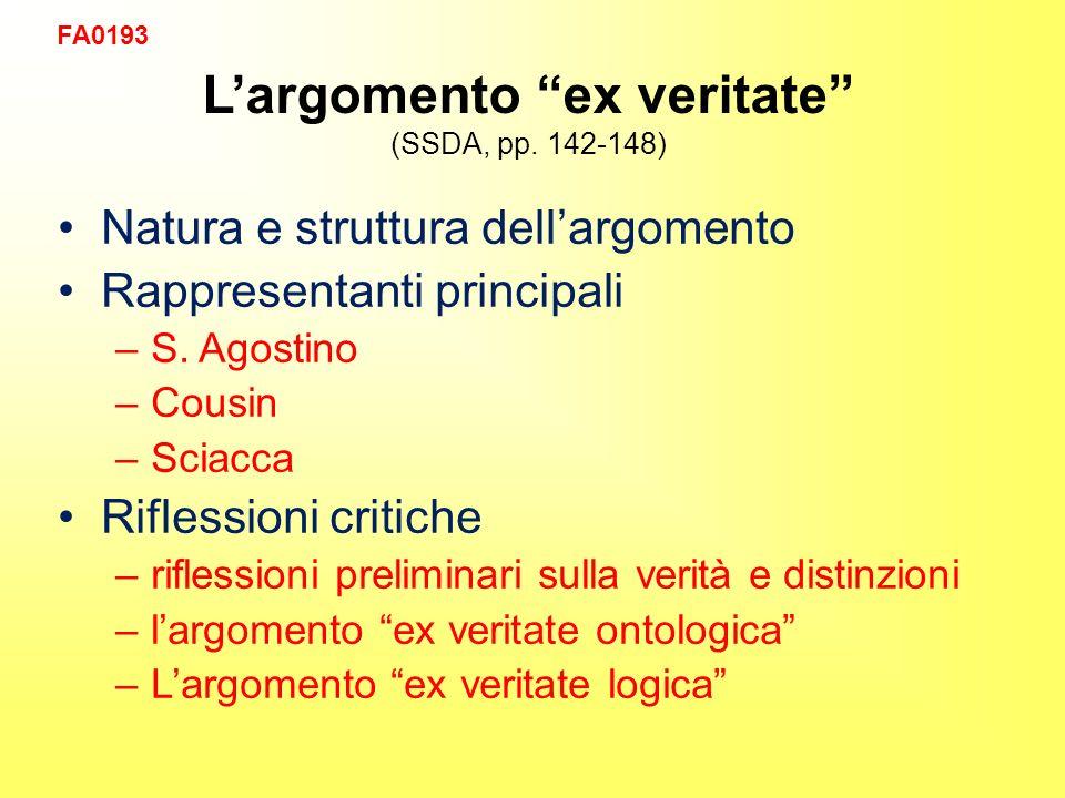 Largomento ex veritate (SSDA, pp. 142-148) Natura e struttura dellargomento Rappresentanti principali –S. Agostino –Cousin –Sciacca Riflessioni critic