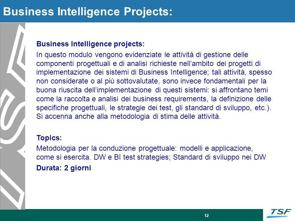 12 Business Intelligence Projects: Business Intelligence projects: In questo modulo vengono evidenziate le attività di gestione delle componenti proge