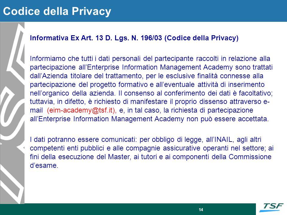 14 Codice della Privacy Informativa Ex Art. 13 D. Lgs. N. 196/03 (Codice della Privacy) Informiamo che tutti i dati personali del partecipante raccolt