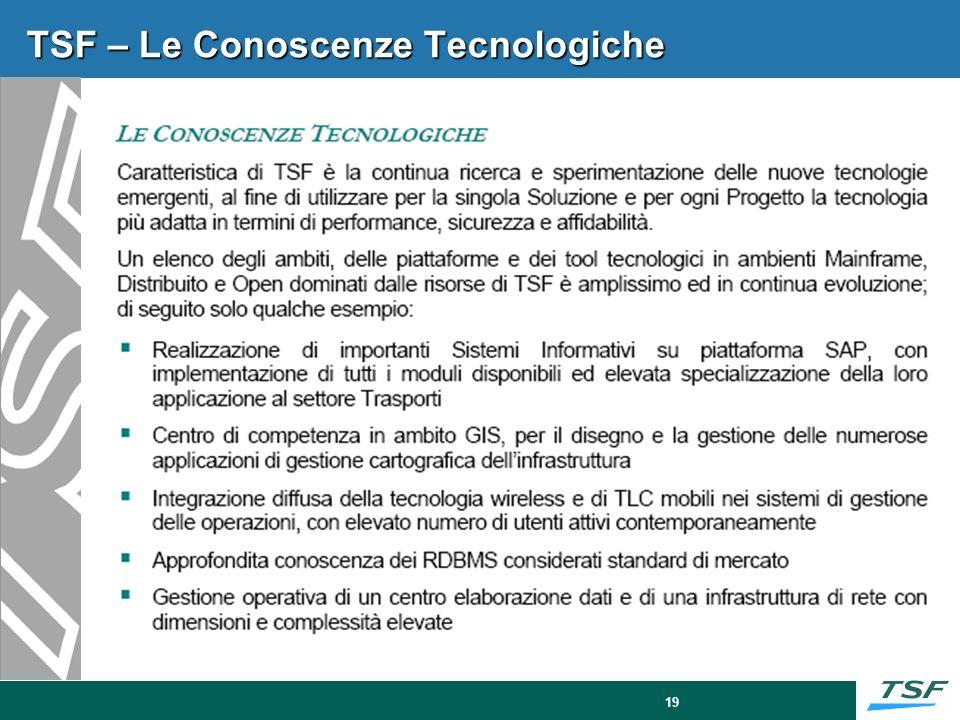 19 TSF – Le Conoscenze Tecnologiche