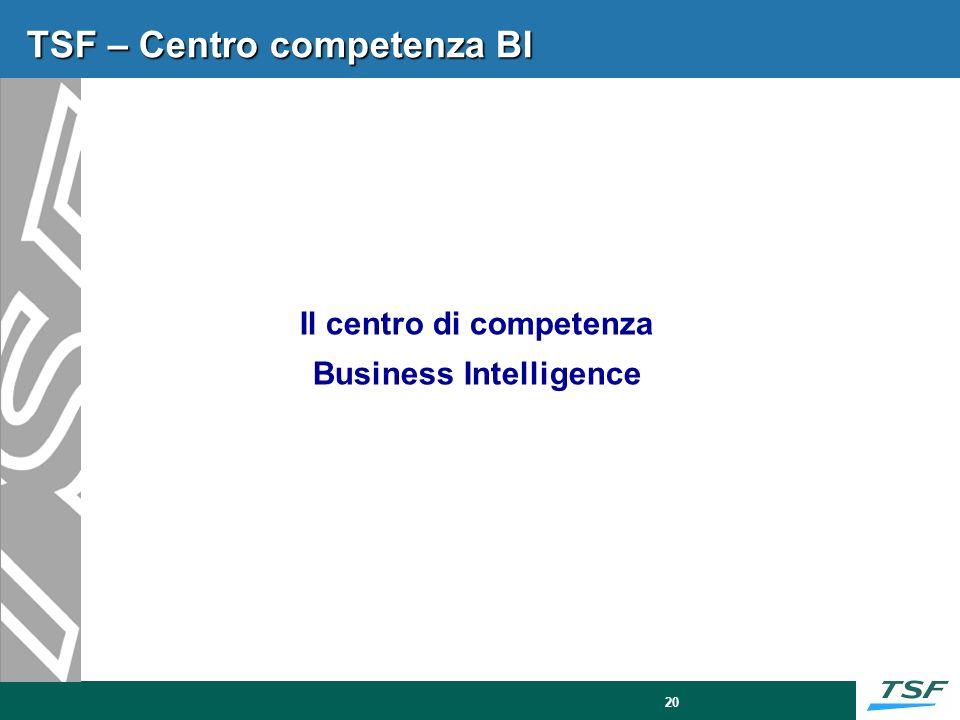 20 TSF – Centro competenza BI Il centro di competenza Business Intelligence