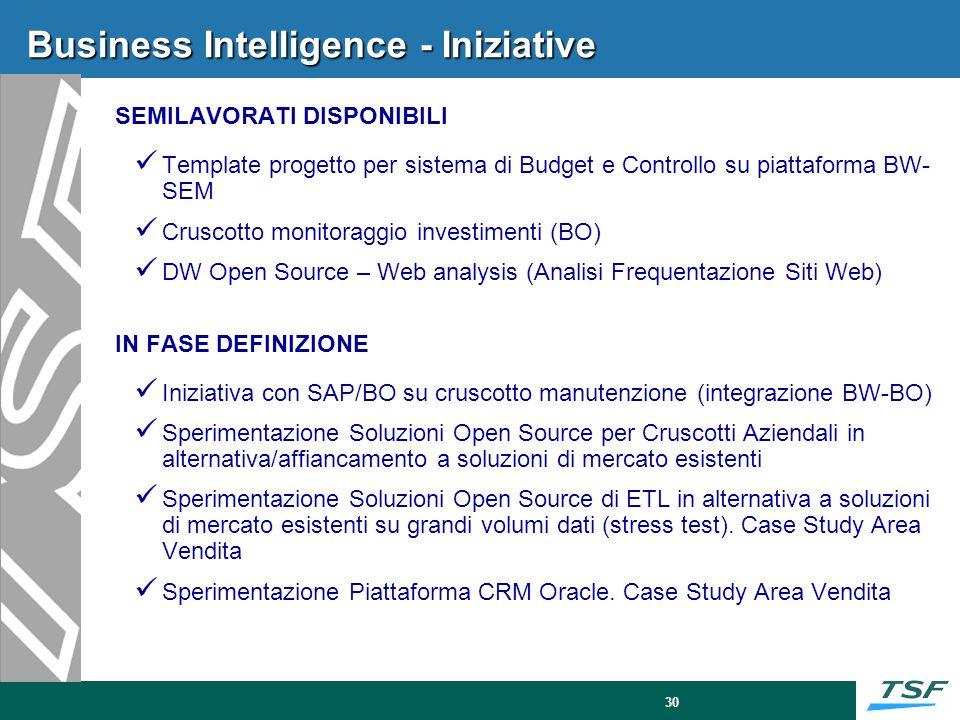30 Business Intelligence - Iniziative SEMILAVORATI DISPONIBILI Template progetto per sistema di Budget e Controllo su piattaforma BW- SEM Cruscotto mo