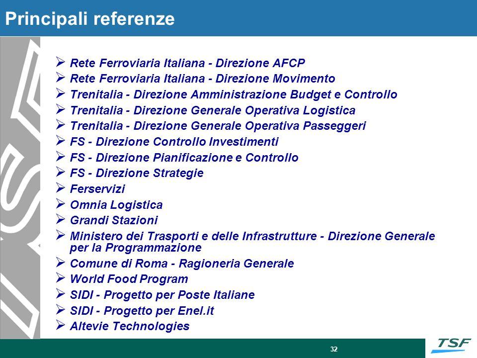 32 Rete Ferroviaria Italiana - Direzione AFCP Rete Ferroviaria Italiana - Direzione Movimento Trenitalia - Direzione Amministrazione Budget e Controll