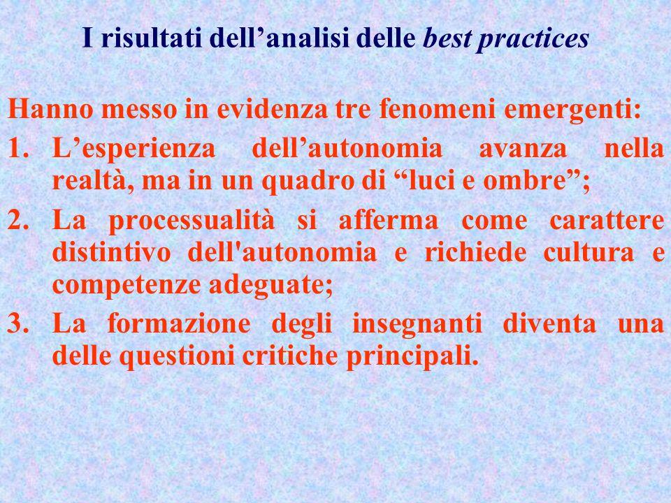 6. Lanalisi delle best practices dellautonomia Lindagine sulle best practices si è proposta un obiettivo del tutto nuovo: leggere le esperienze di aut