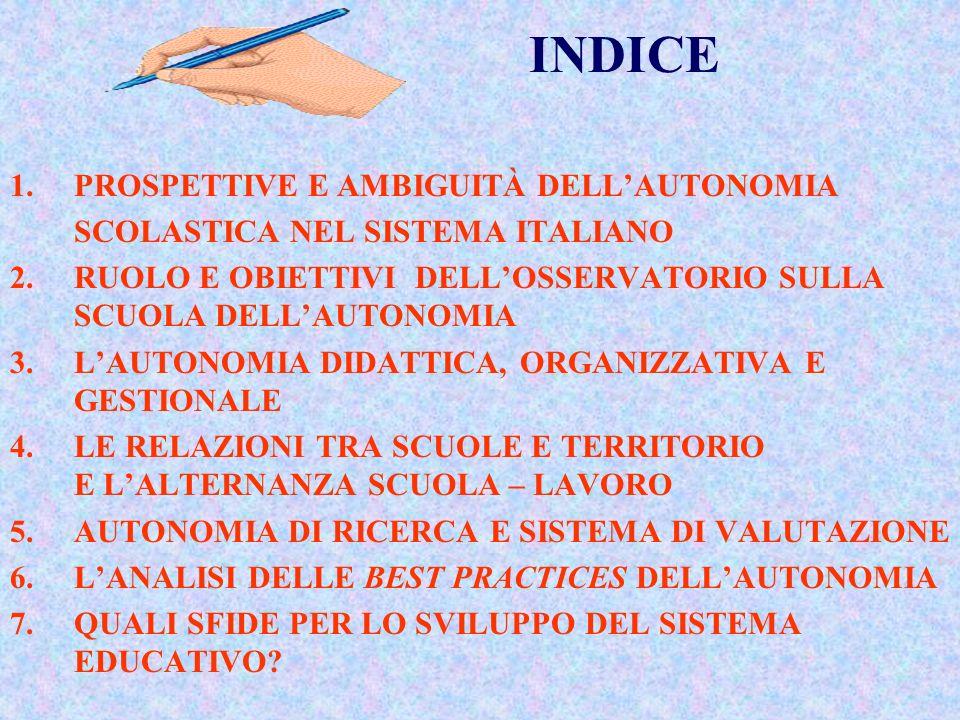 INDICE 1.PROSPETTIVE E AMBIGUITÀ DELLAUTONOMIA SCOLASTICA NEL SISTEMA ITALIANO 2.