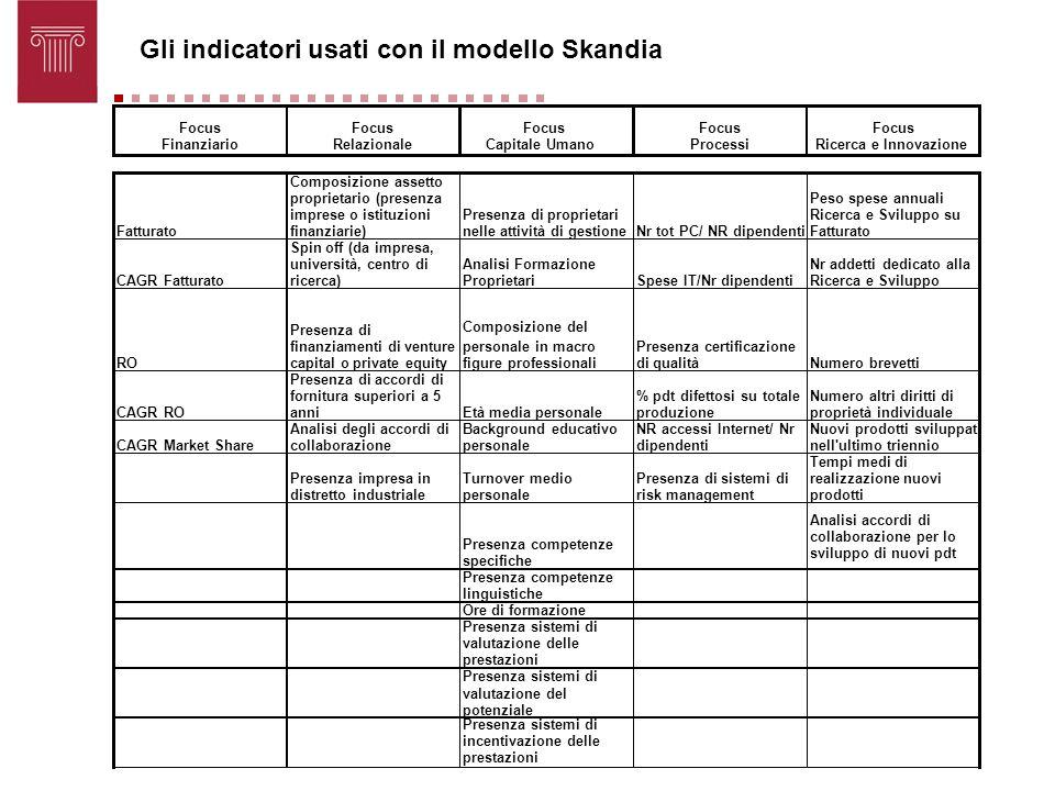 Gli indicatori usati con il modello Skandia Focus Finanziario Focus Relazionale Focus Capitale Umano Focus Processi Focus Ricerca e Innovazione Fattur
