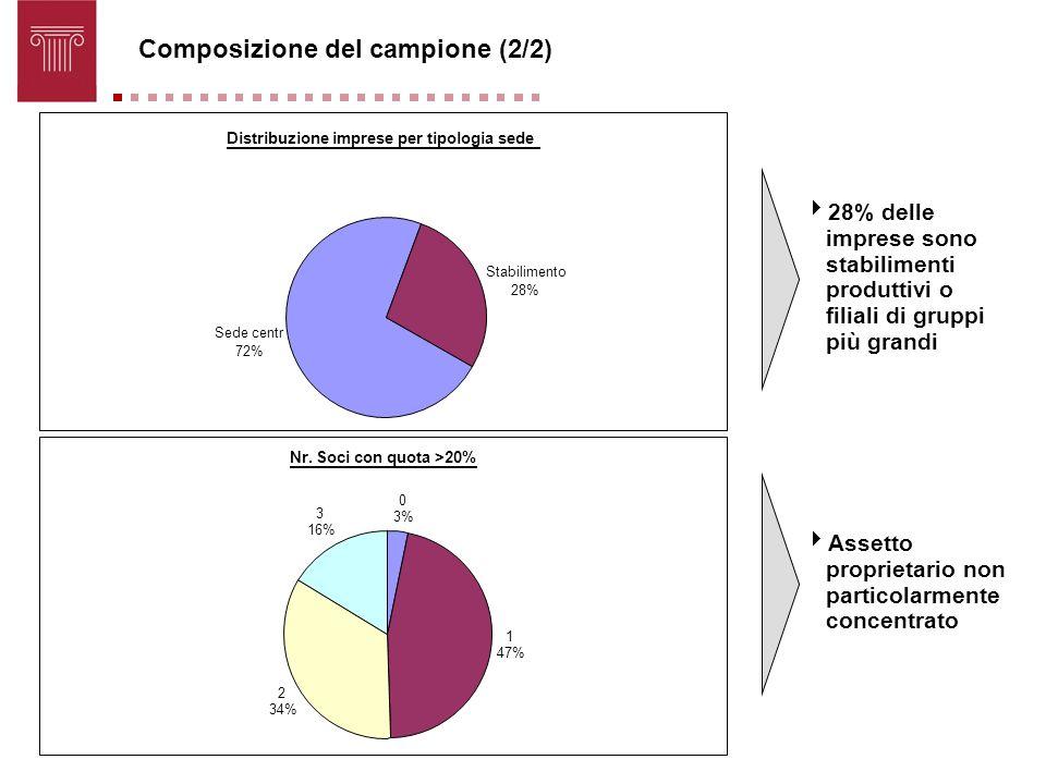 Composizione del campione (2/2) 28% delle imprese sono stabilimenti produttivi o filiali di gruppi più grandi Assetto proprietario non particolarmente