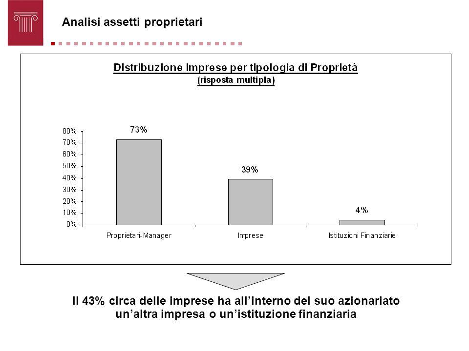 Analisi assetti proprietari Il 43% circa delle imprese ha allinterno del suo azionariato unaltra impresa o unistituzione finanziaria