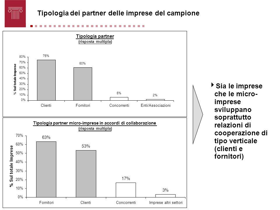 Tipologia dei partner delle imprese del campione Sia le imprese che le micro- imprese sviluppano soprattutto relazioni di cooperazione di tipo vertica