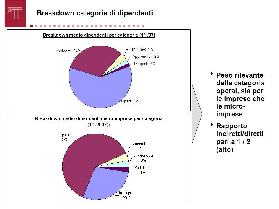 Breakdown categorie di dipendenti Peso rilevante della categoria operai, sia per le imprese che le micro- imprese Rapporto indiretti/diretti pari a 1