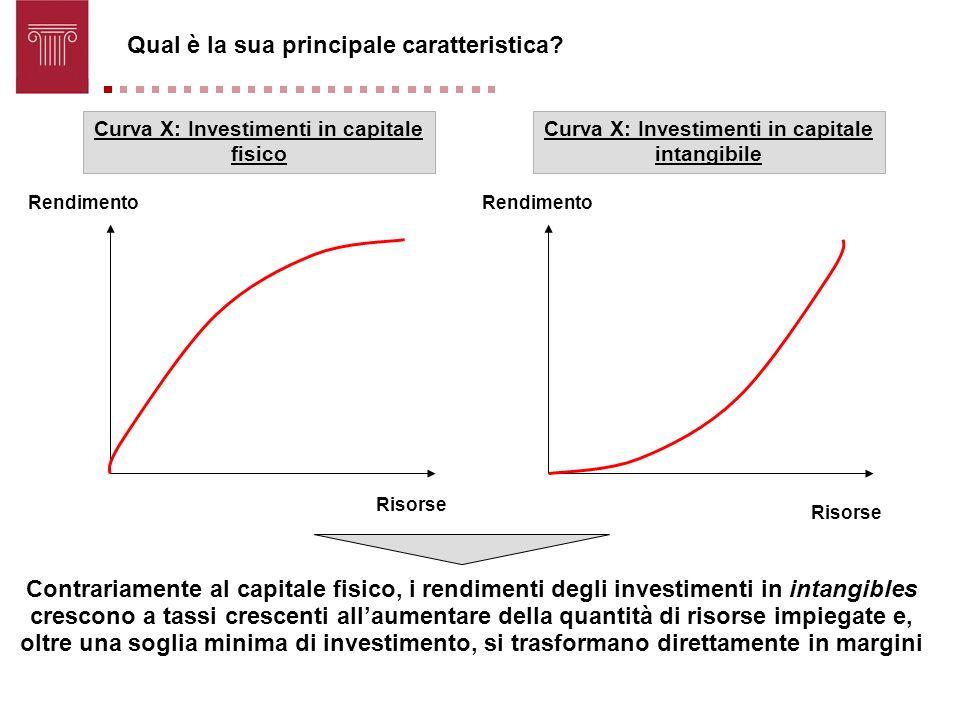 Rendimento Risorse Curva X: Investimenti in capitale fisico Curva X: Investimenti in capitale intangibile Qual è la sua principale caratteristica? Con