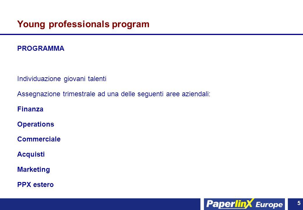 5 5 Young professionals program PROGRAMMA Individuazione giovani talenti Assegnazione trimestrale ad una delle seguenti aree aziendali: Finanza Operat