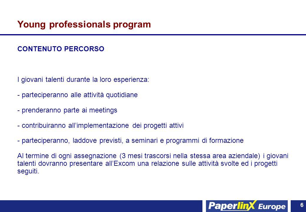 6 6 Young professionals program CONTENUTO PERCORSO I giovani talenti durante la loro esperienza: - parteciperanno alle attività quotidiane - prenderan