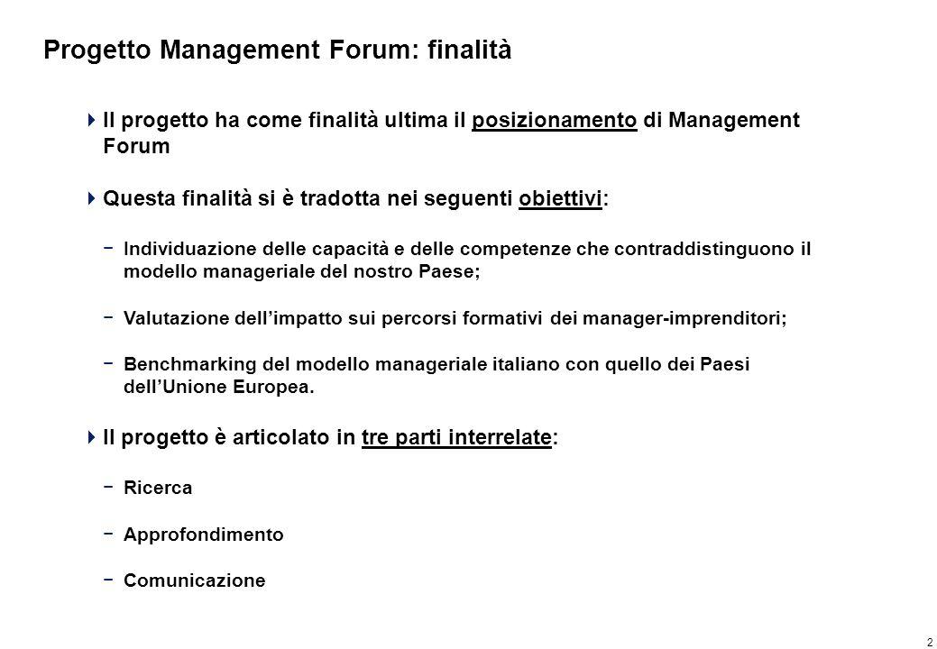 2 Progetto Management Forum: finalità Il progetto ha come finalità ultima il posizionamento di Management Forum Questa finalità si è tradotta nei segu