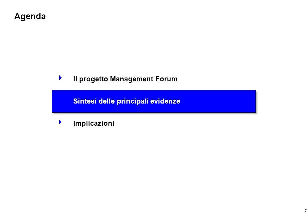 7 Agenda Il progetto Management Forum Sintesi delle principali evidenze Implicazioni