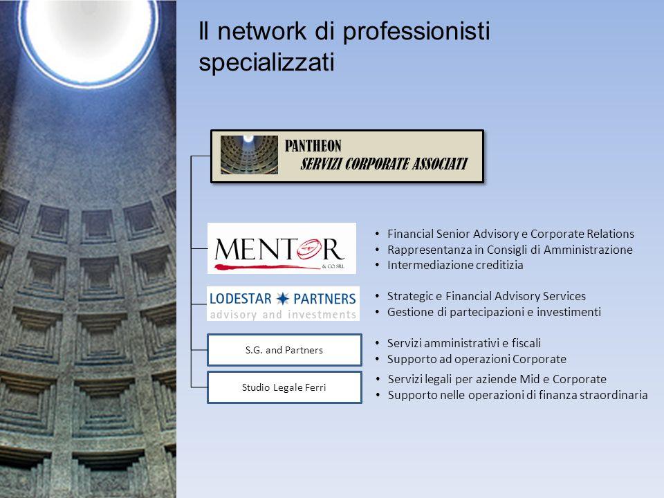 ll network di professionisti specializzati PANTHEON SERVIZI CORPORATE ASSOCIATI S.G. and Partners Studio Legale Ferri Financial Senior Advisory e Corp