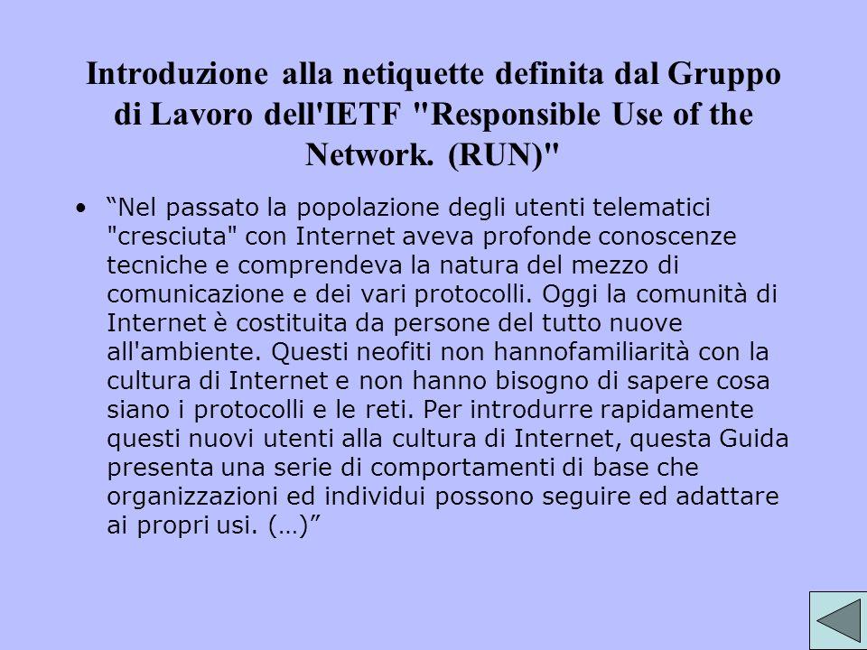 Introduzione alla netiquette definita dal Gruppo di Lavoro dell'IETF