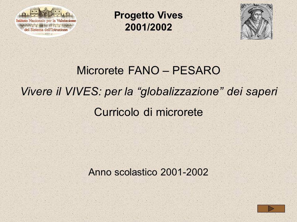 Progetto Vives 2001/2002 Microrete FANO – PESARO Vivere il VIVES: per la globalizzazione dei saperi Curricolo di microrete Anno scolastico 2001-2002
