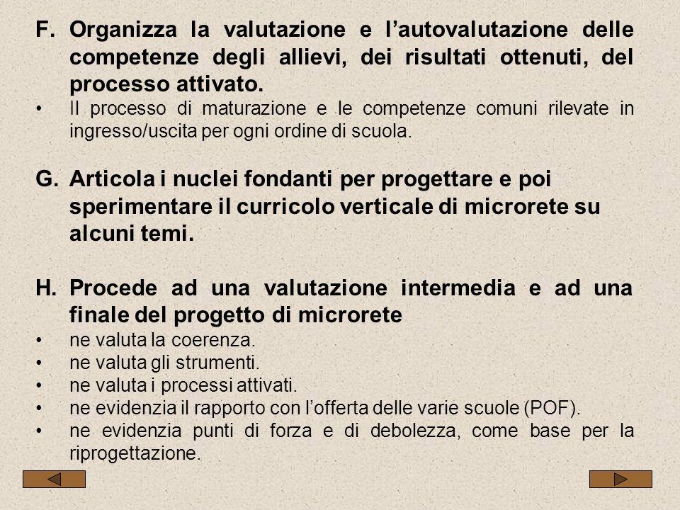 F.Organizza la valutazione e lautovalutazione delle competenze degli allievi, dei risultati ottenuti, del processo attivato.