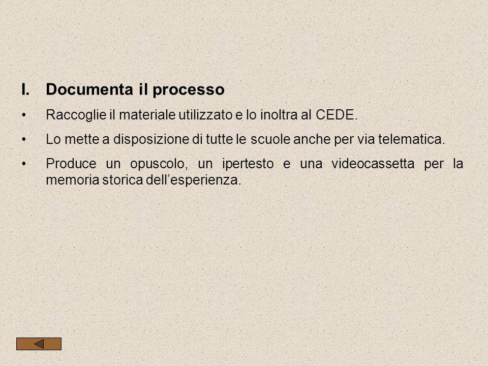 I.Documenta il processo Raccoglie il materiale utilizzato e lo inoltra al CEDE. Lo mette a disposizione di tutte le scuole anche per via telematica. P