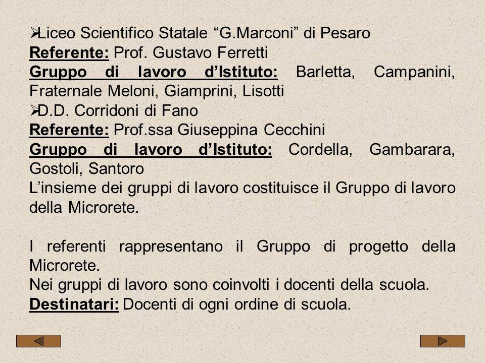 Liceo Scientifico Statale G.Marconi di Pesaro Referente: Prof. Gustavo Ferretti Gruppo di lavoro dIstituto: Barletta, Campanini, Fraternale Meloni, Gi