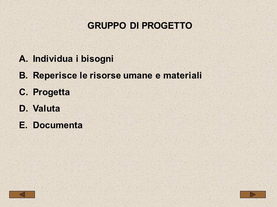 GRUPPO DI PROGETTO A.Individua i bisogni B.Reperisce le risorse umane e materiali C.Progetta D.Valuta E.Documenta