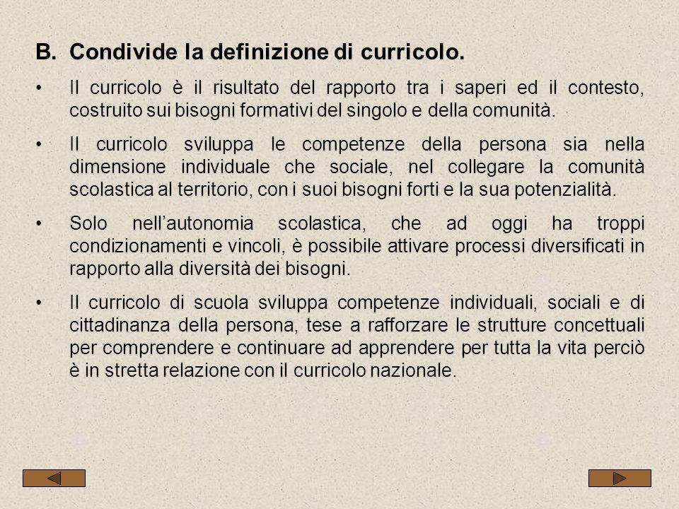 B.Condivide la definizione di curricolo. Il curricolo è il risultato del rapporto tra i saperi ed il contesto, costruito sui bisogni formativi del sin